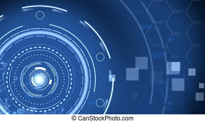 Futuristic Blue Hi-Tech Technology Background.