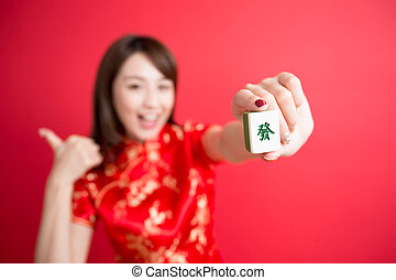 beauty woman wear cheongsam - beauty woman thumb up and show...
