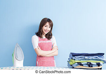 beauty  housewife with ironing