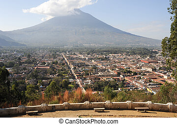 Overview at the colonial downtown of Antigua and vulcano...