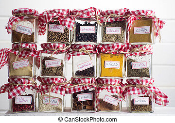 Small pantry of flavors - mall glass jars to store various...
