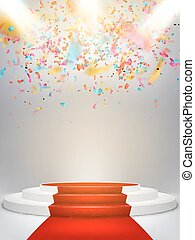 Podium on studio background. EPS 10 - Illuminated light...