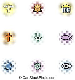 Religious faith icons set, pop-art style - Religious faith...