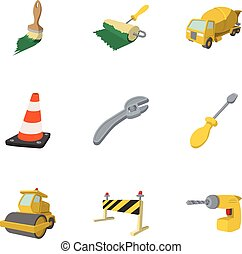 Construction of road icons set, cartoon style