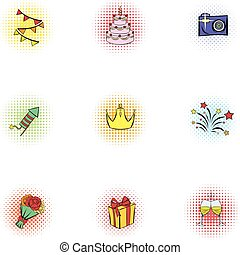 Holiday icons set, pop-art style - Holiday icons set....