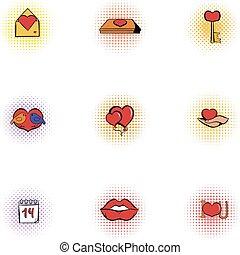 14 February icons set, pop-art style - 14 February icons...
