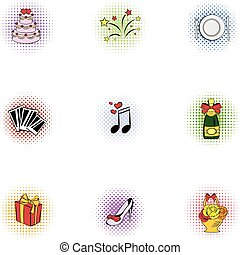 Marriage ceremony icons set, pop-art style - Marriage...