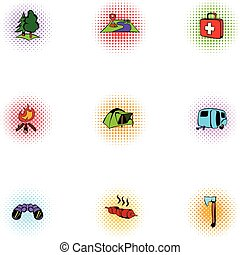 Vacation in forest icons set, pop-art style