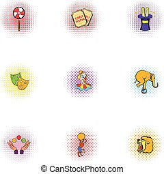 Circus performance icons set, pop-art style - Circus...