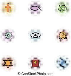Beliefs icons set, pop-art style - Beliefs icons set....