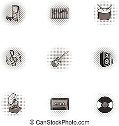 Musical device icons set, pop-art style