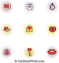 Valentines day february 14 icons set. Pop-art illustration...