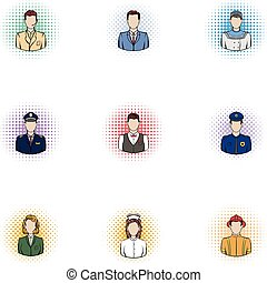 Specialty icons set, pop-art style - Specialty icons set....