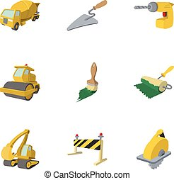 Road building tools icons set, cartoon style - Road building...