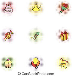 Birthday icons set, pop-art style - Birthday icons set....
