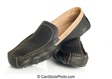 Modern black mens moccasins over white
