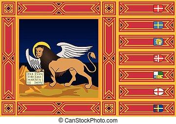 Flag of Veneto Region, Italy. Vector Format