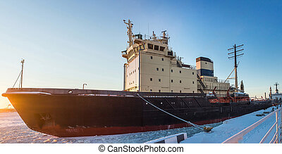 Icebreaker in the river ice. Winter shot. Close up. -...