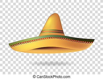 Mexican Sombrero Hat transparent background. Mexico. Vector...