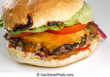 Tasty cheese beef burger with lettuce, cheddar, barbecue...