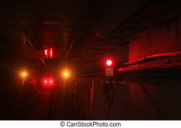 Railway signal lights at tunnel - subway South Island Line...
