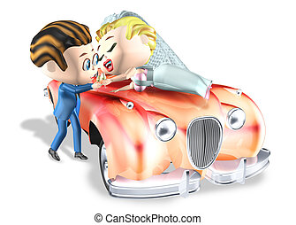 wedding kiss car