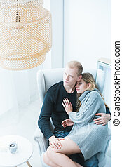 Romantic couple resting at home - Romantic couple resting at...