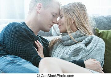 Man and woman enjoying morning - Man and woman enjoying...