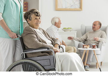 Seniors at recreation room at nursing home