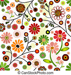 Floral vivid seamless pattern with colorful flowers (vector)