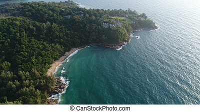 Aerial view of the sea and coastline of the beach in Phuket,...