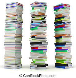Education and wisdom. Tall heaps of hardcovered books...