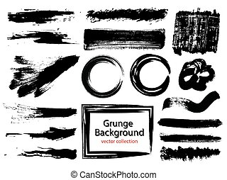 Set of black paint, ink brush strokes, brushes, lines. Dirty...