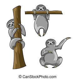 Vector set of cute sloths. Cartoon style. Sloth print for...