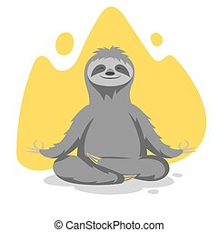 Vector illustration of happy cute sloth practicing yoga...