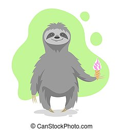 Vector illustration of happy cute sloth holding an ice cream...
