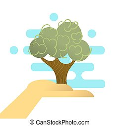 Vector illustration of abstract hand holding tree. Concept for forest protection.
