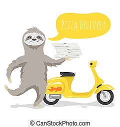 Vector illustration of happy cute sloth with pizza boxes and...