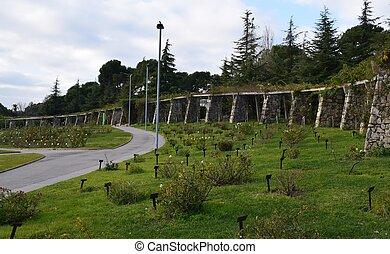 Parque Cervantes con un conjunto de unos 11 000 rosales de...