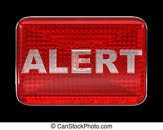 Alert button or headlight isolated over black