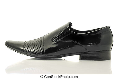 Classic Mens patent-leather shoe isolated over white...