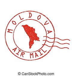 Moldova stamp or sign - Moldova post office, air mail,...