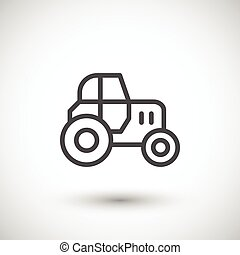 Tractor line icon isolated on grey. Vector illustration