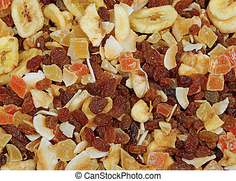 dried fruit with raisins and pieces of coconut and banana on...