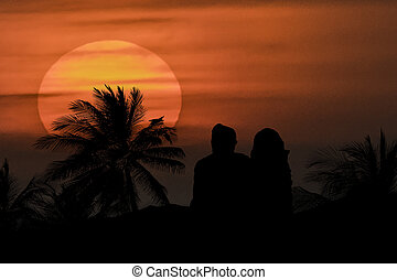 Couple Silhouette Watching the View - Silhouette...