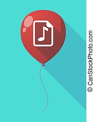 Long shadow balloon with a music score icon - Illustration...