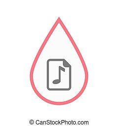 Isolated blood drop with a music score icon - Illustration...