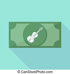 Long shadow bank note with a violin - Illustration of a long...