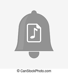 Isolated bell with a music score icon - Illustration of an...