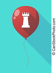 Long shadow balloon with a rook chess figure - Illustration...